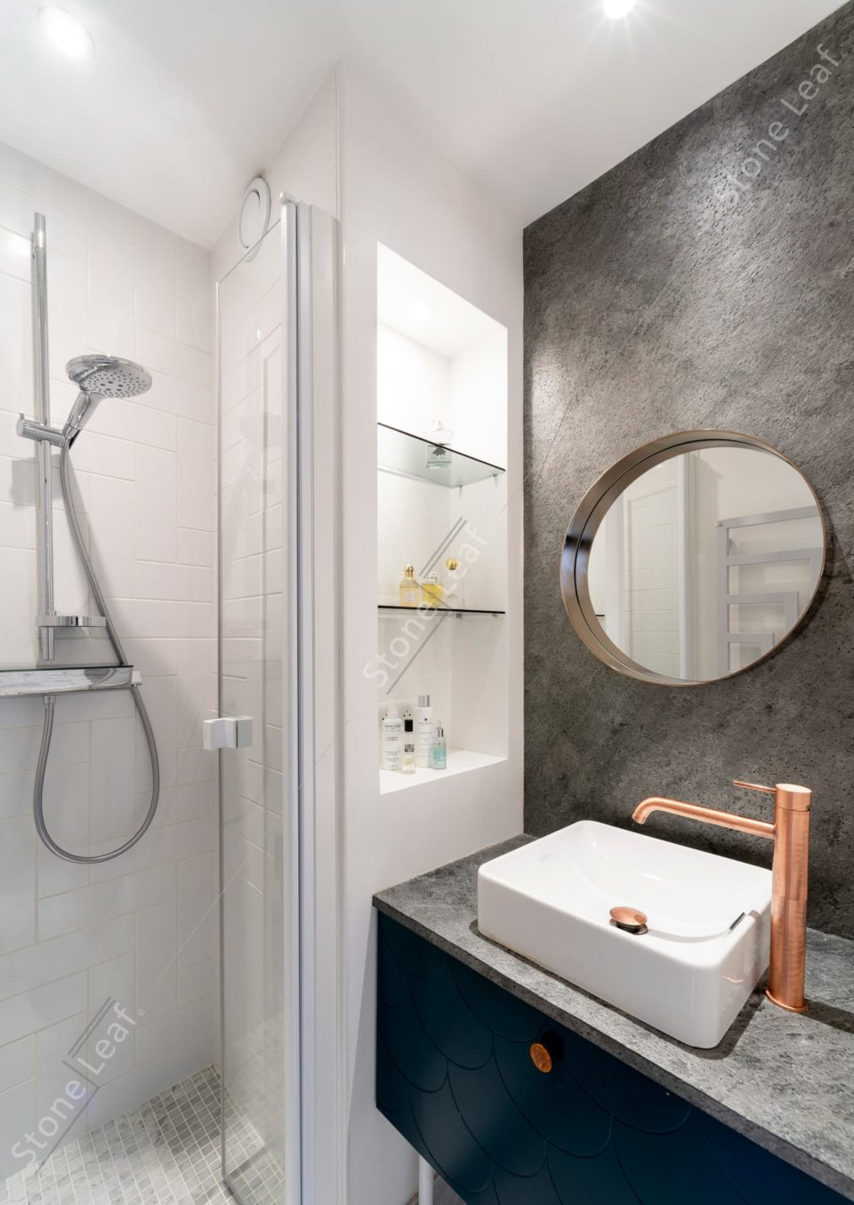 Feuille de pierre 100% naturelle revêtement mural de salle de bain