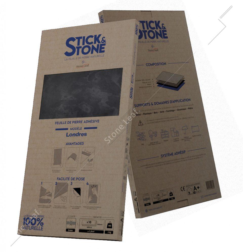 Feuille de pierre 100% naturelle Stick&Stone Londres packaging