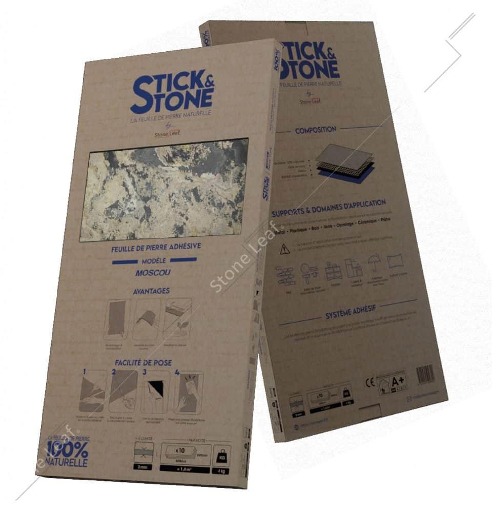 Feuille de pierre 100% naturelle Stick&Stone Moscou packaging