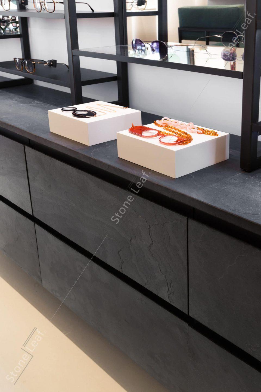 Feuille de pierre 100% naturelle mobilier boutique lunettes