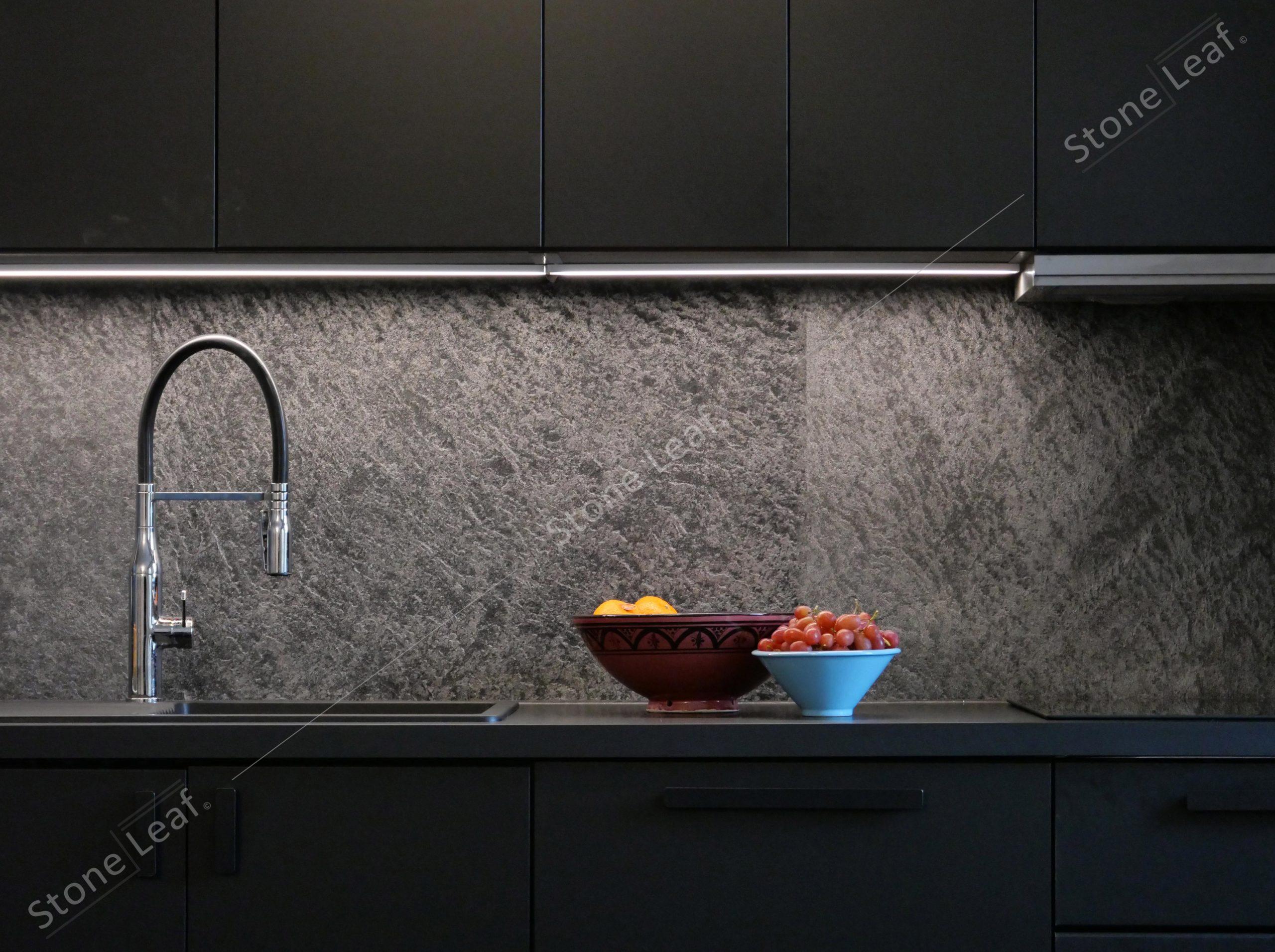 100% natural stone sheets onto a kitchen splashback