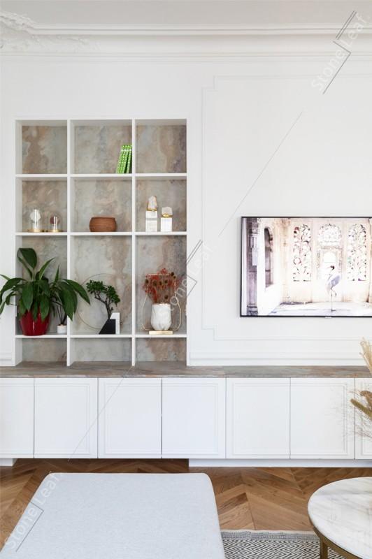 Feuille de pierre 100% naturelle en décoration de salon
