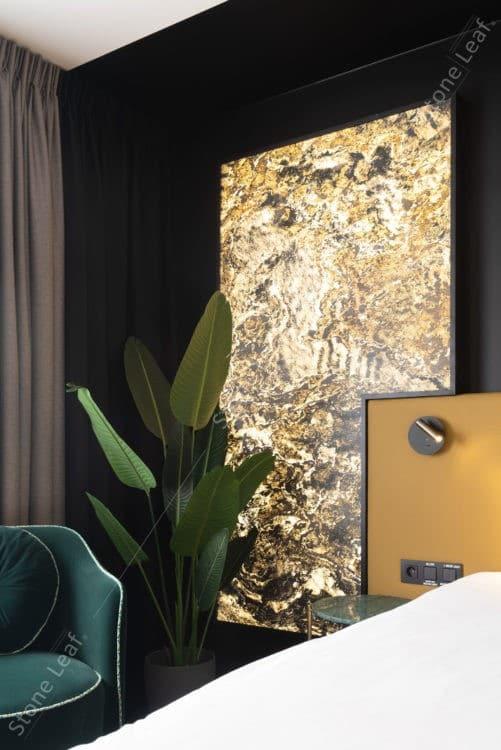 Feuille de pierre 100% naturelle translucide Moscou en décoration lumineuse