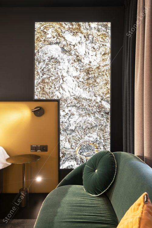 Feuille de pierre 100% naturelle translucide en décoration luminaire