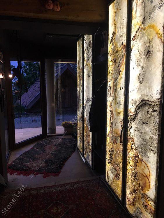 Feuille de pierre 100% naturelle translucide éclairage couloir