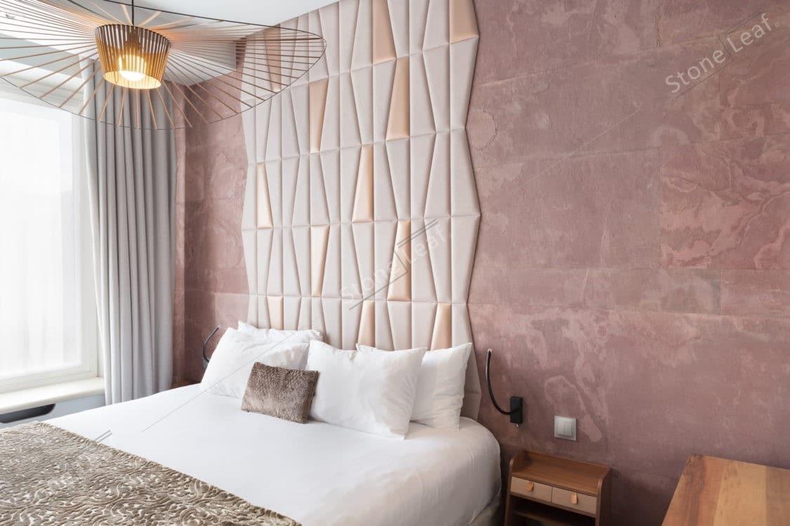 Feuille de pierre 100% naturelle revêtement chambre d'hôtel