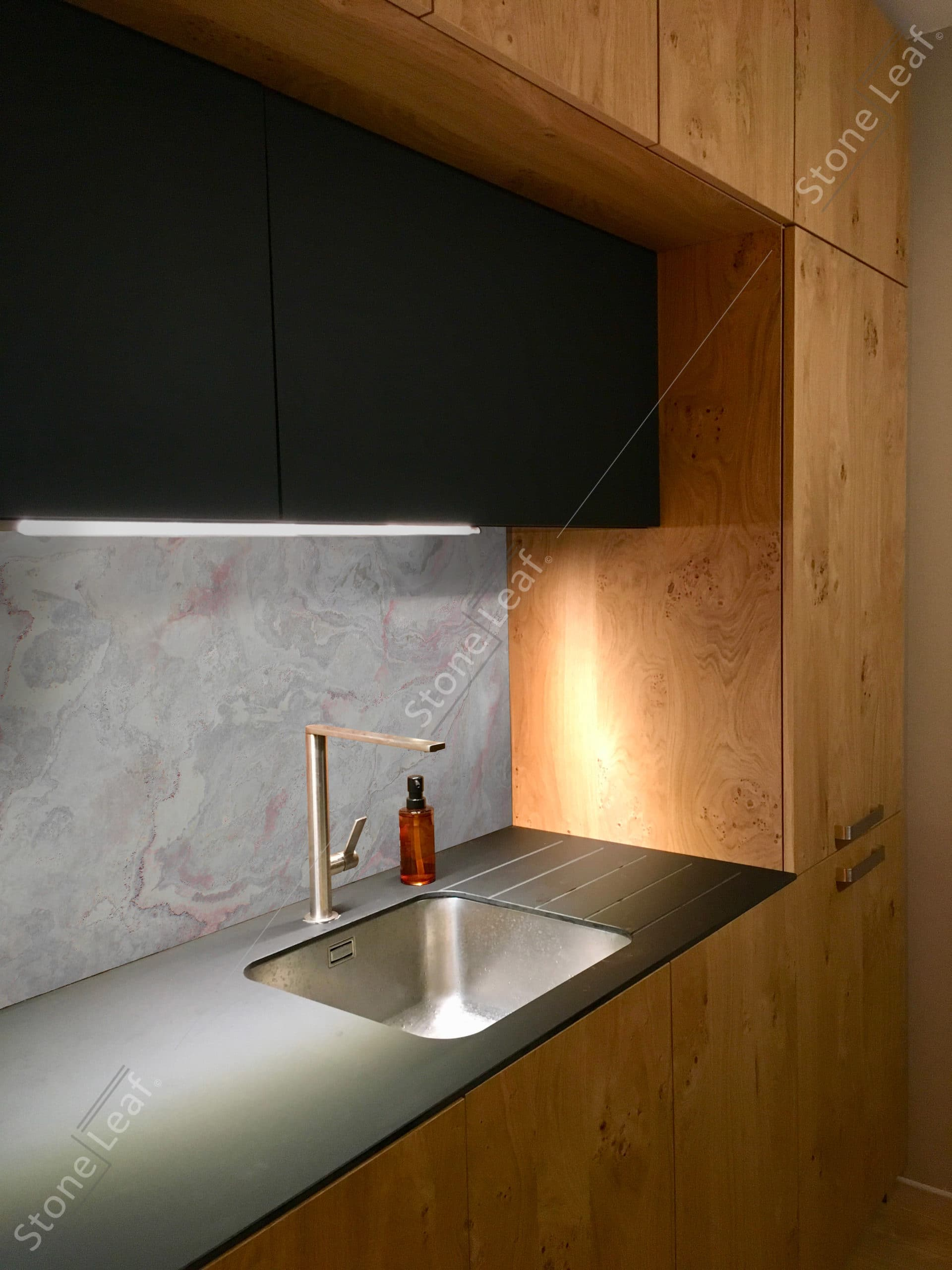 Our 100% natural stone sheet on a wall
