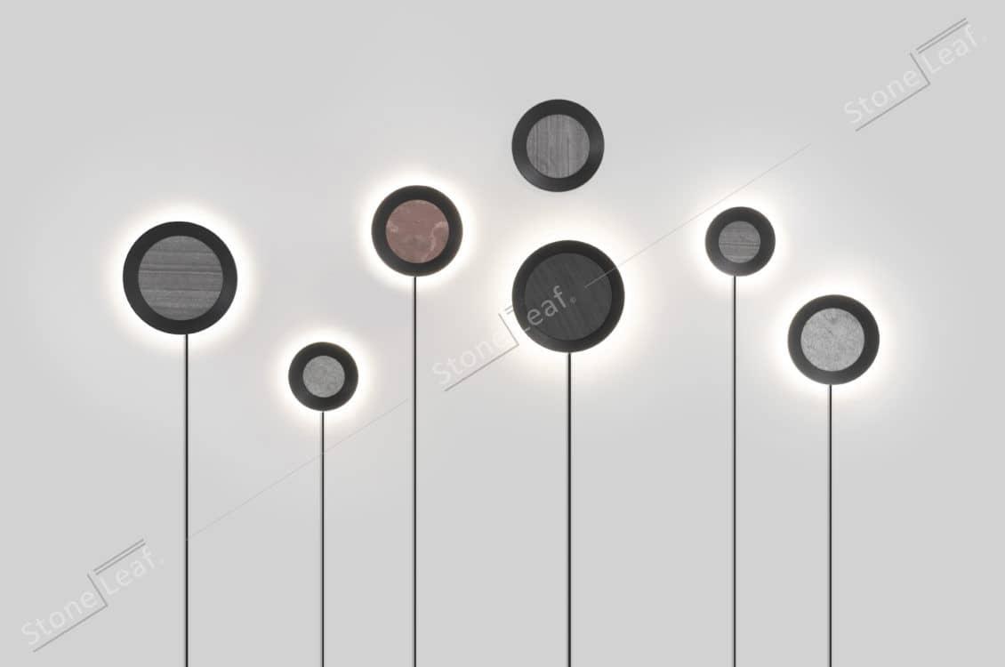 Feuille de pierre 100% naturelle en décoration de luminaire