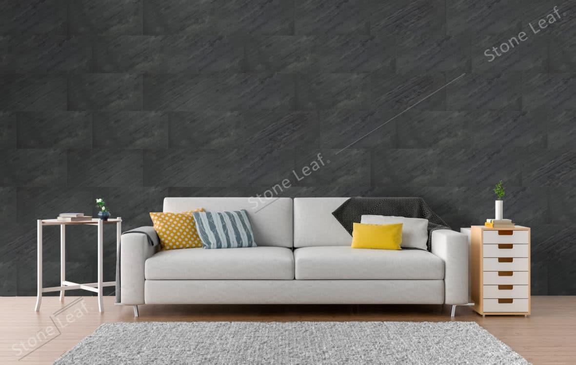 Feuille de pierre 100% naturelle en revêtement de mur d'un salon