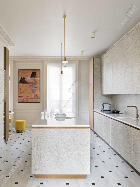 Feuille de pierre 100% naturelle en mobilier et crédence de cuisine
