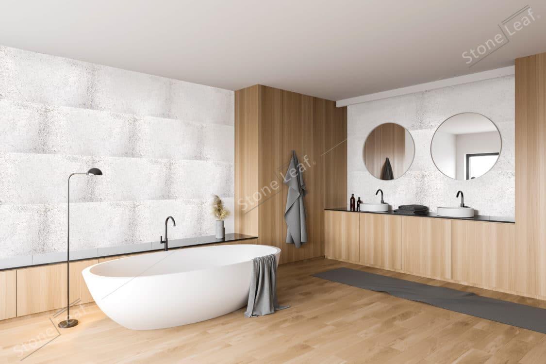 Feuille de pierre 100% naturelle en revêtement mural de salle de bain