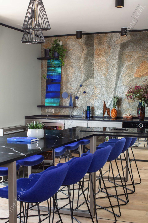Feuille de pierre 100% naturelle en décoration de cuisine