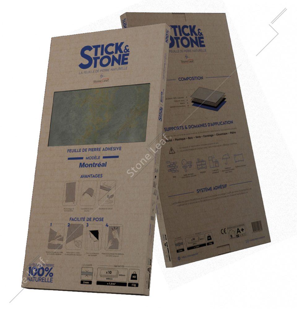 Feuille de pierre 100% naturelle Stick&Stone Montréal packaging