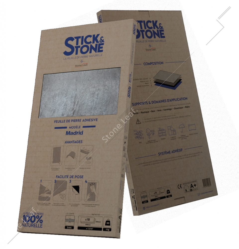 Feuille de pierre 100% naturelle Stick&Stone Madrid packaging