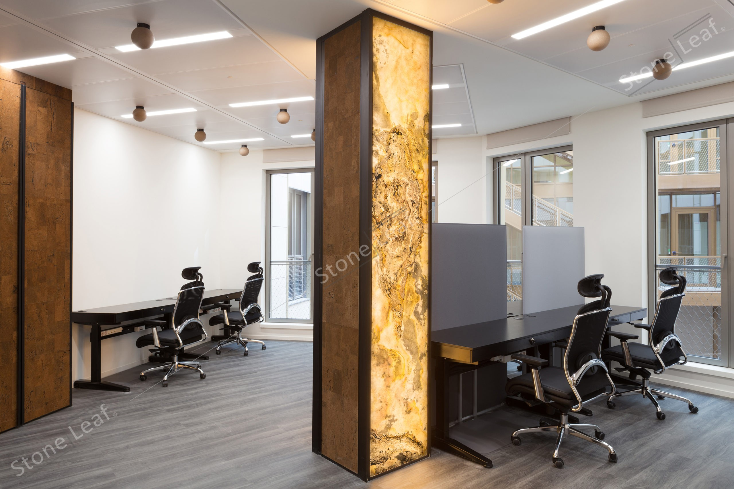 100% natural and translucent stone sheets into an office