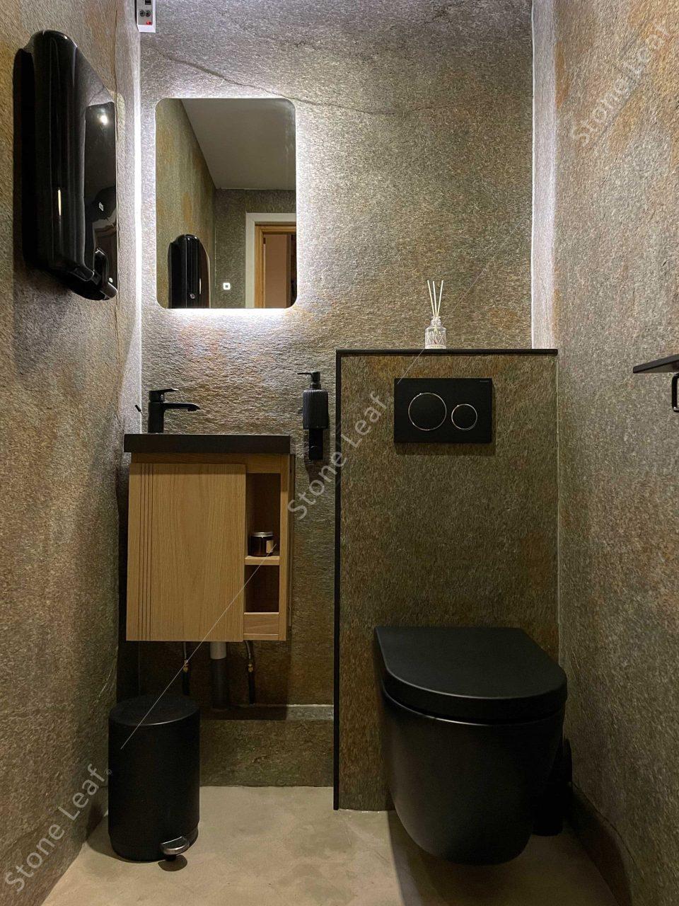 Feuille de pierre 100% naturelle en revêtement de sanitaires